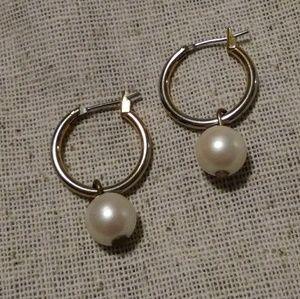 Gold tone faux Pearl Hoop Earrings